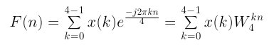 DFT Equation 4 points and with W